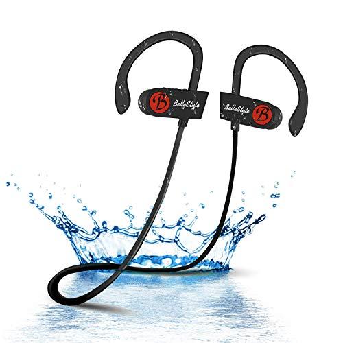 Bluetooth Kopfhörer, BELLESTYLE Leichte Bluetooth 4.1 Ear Ohrhörer mit Mikrofon, IPX7 Wasserschutz Stereo Headset für iPhone, iPad, Samsung, Nexus, HTC, LG und mehr -
