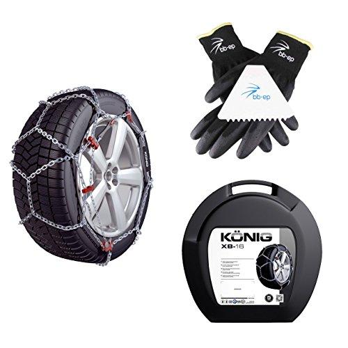 BB-EP Schneeketten Winter-Set für SUV & Transporter - passend für die Reifengröße 225/75 R16 - Kettenhersteller KÖNIG|Thule - mit Ö-Norm 5117/Ö-Norm 5119/TÜV im Set Handschuhen & Eiskratzer