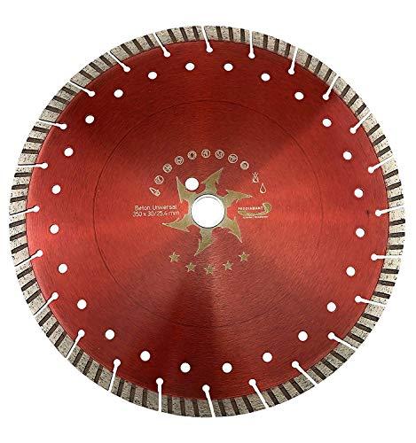 PRODIAMANT Premium Diamant-Trennscheibe Beton Turbo 350 mm x 25,4 mm Diamanttrennscheibe 350mm Concave-Turbo Beton/universal