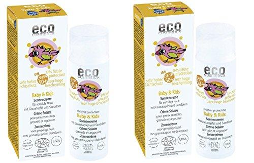 ECO COSMETICS Baby & Kids Sonnencreme LSF 50+ mit Granatapfel und Sanddorn, 2 x 50ml
