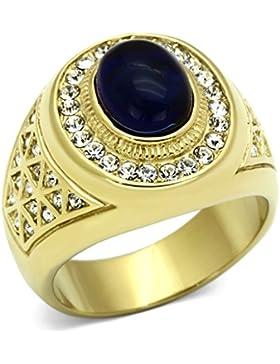 ISADY - Willy - Herren-Ring - Edelstahl und 585er 14K Gold platiert - Zirkonium Transparent und Blau-schwarz