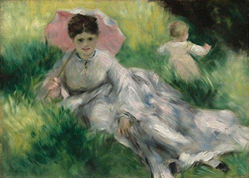 Auguste Renoir Frau mit einem Sonnenschirm und kleinen Kind auf einem Sunlit Hillside...