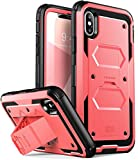 i-BLASON Custodia iPhone X iPhone XS, Cover Rigida [Armobox V2.0] Pellicola Protettiva in Vetro Temperato Integrata [Kickstand] con Antiurto Bumper per Apple iPhone X/iPhone 10/iPhone XS (Rosa)