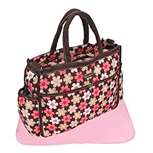 Iris Pink Print Large Multi-Purpose Diaper Bag with Matching Changing Mat (Mommy Bag)