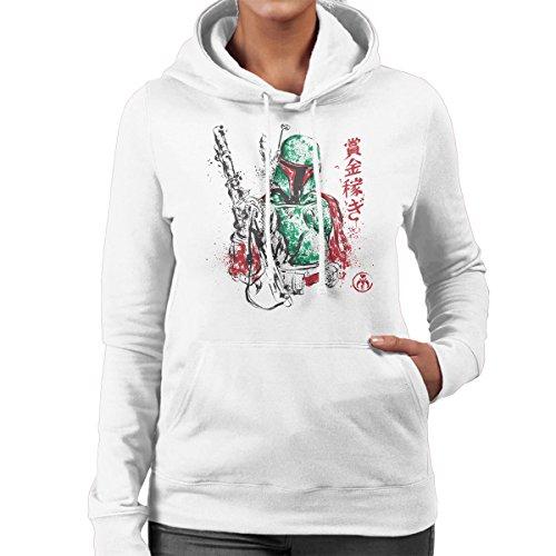 Bounty Hunter Boba Fett Sumi e Star Wars Women's Hooded Sweatshirt White