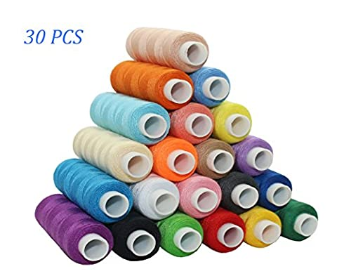 Tong 30 Colour Spools Sewing Thread 250 Yards Each Polyester All Purpose for Hand and Machine