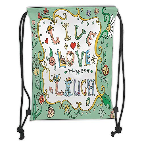 string Backpacks Bags,Live Laugh Love Decor,Ornate Doodle Wreath Inspiring Quote with Flowers Spring Petals Print Decorative,Multicolor Soft Satin,5 Liter Capacity,Adjustable S ()