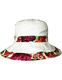 Ladies Rose and Floral Reversible Summer Sun Hat with Wide Brim Cotton