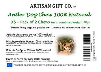 Bois de Cerf à Mâcher pour Chiots - 100% Naturel et Écologique - Taille XS - Pack 2 Unités, Poids total min. 70g - Artisan Gift Co.