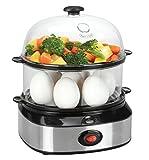 Cuociuova, Stoga Vaporiere Doppio Livello Egg Boiler Electric Egg Boiler Cooker Per Uova Sode e Uova al Vapore e Contenitore per 7 Uova Multifunzione Steamer in acciaio inossidabile uova 360W