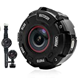 Top Vigor Sport Action Kamera, Watch Style 30M Unterwasser Wasserdichte WIFI Kamera, 16MP 1080P Digital Motorrad Helm Video Cam Camcorder mit 8 Megapixel, Leucht Schießen, Uhrenarmband & Zubehör Kit