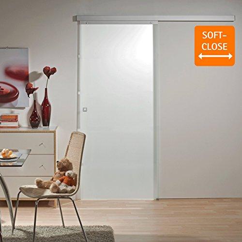 Schiebetür Glas-Schiebetür Zimmertür 755x2035mm mit Softclose Komplettset mit Laufschiene & Glastür (vollflächig satiniert + Quadratgriff)