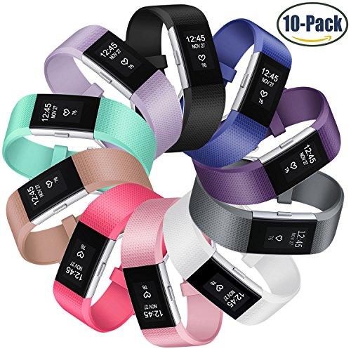 Fitbit Charge 2 Bänder, Mornex klassische Armbänder, sportliches Fashion Design mit verstellbarer Metallschließe für Fitbit Charge 2 Smartwatch, 10 Stück, Small