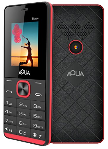 [Sponsored Products]Aqua Maze - 1000 MAh Battery Slim Dual SIM Basic Keypad Mobile Phone- Black+red