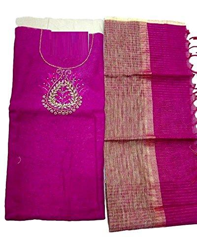 Kumar Designs Women's Net Jute Unstitched Dress Material (KumDes_017, Pink, freesize)