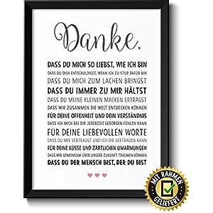 Danke Liebe Geschenke für Frauen Bild im schwarzem Holz Rahmen Geschenkidee Weihnachtsgeschenke für Frauen und Männer zu…