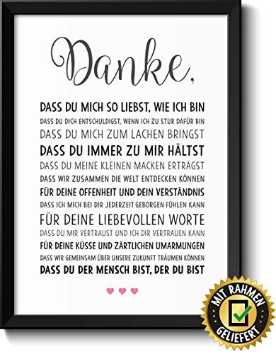 Danke Liebe Bild mit Rahmen Geschenke Geschenkidee zum Geburtstag Jahrestag Hochzeit Hochzeitstag Verlobung für Männer Frauen Freundin Freund Paar Pärchen Partner