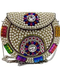 Pearl Metal Bag Ethnic Clutch Tribal Wallet Vintage Purse Indian Clutch Sling Bag Metal Bag Vintage Clutch Bridal...