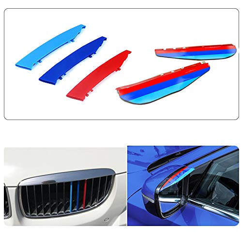 Pour 05-08 3 séries E90 E91 (12 Grilles) 3D Colors M Front Grille Trim Strips Cover Stickers+Rear View Mirror Rain Eyebrow 5 Pièces