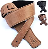 Real Leather Guitar Strap: 130cm long Ultra-soft Foam Cushion Padded Belt to Relieve Back/Shoulder Pain, Made in the UK, Suits Electric, Bass or Acoustic (inc Semi / Electro)