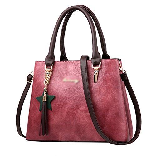 bd6f9ae030838 Baymate Frauen Vintage Henkeltaschen PU Leder Umhängetasche Schultertaschen Tasche  Handtasche Dunkel Pink
