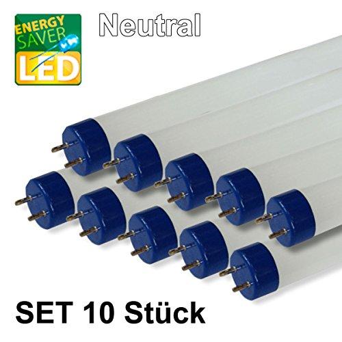10er SET LED Röhren 120cm 18W, neutralweiß, G13, T8, 1700lm, 4000K, Echtglas