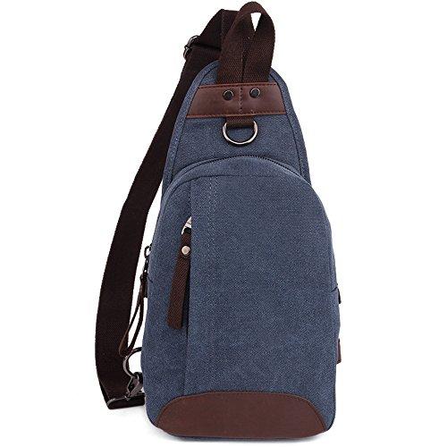 Gendi Segeltuch Sling Bag Pack, Brust Schulter Crossbody Wandern Rucksack Sport Fahrrad Rucksack Handtasche Schule Daypack für Männer Frauen Boy Girl Jugendliche (blau) (Fahrrad-handtasche)