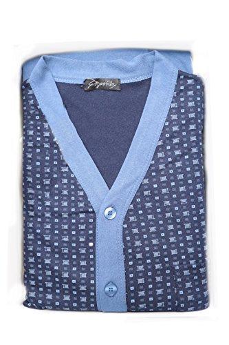 Giorgio rey - pigiama 08-109 per uomo, 100% cotone interlock caldo cotone, manica lunga - fiordo - xl