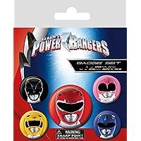 Power Rangers - Classic, Helmets, 1 X 38mm & 4 X 25mm Chapas Set De Chapas (15 x 10cm)