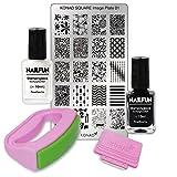 KONAD Fancy Stamping Set 01 inkl. Fancy Maxi Stempel + Scrapper + Square Schablone No. 1 + 10ml NAILFUN Stampinglack weiss + 10ml NAILFUN Stampig-Lack schwarz