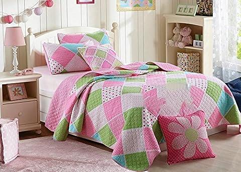 Beddingleer Cotton Cute Girls Stitching Patchwork Bedspreads Quilts Set Birds Butterfly Comforter Set , King Size(Set of