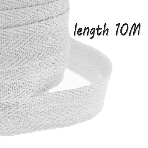 JJOnlineStore Baumwolle, 25 mm, 2.54 cm Herringbone Twill, Schneidern Nähen Handwerk Schürze, Wimpelkette, weiß, 10 Meter (Bias Schürze Weiss)