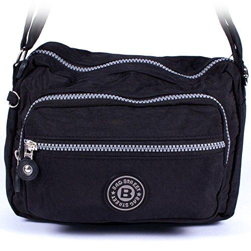 imppac Umhängetasche schwarz Nylon Sportliche Handtasche Bag Street OTJ227S -