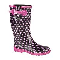 Stormwells MARCELA Ladies Wellington Boots Black/Pink Polka Dot UK 4