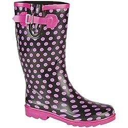 Jileon rosa de lunares botas de agua - tamaño 5