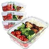 GOOD FOR YOU Recipientes Herméticos de Cristal Para Comida - Envases Para Alimentos de Vidrio con Tapa - Contenedores Aptos Para Lavavajillas Microondas Horno Congelador - Sin BPA [Pack de 4 - 82 cl]