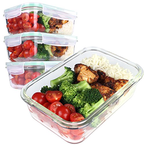 Good for you contenitori per alimenti in vetro portapranzo ermetici con coperchio [set da 4]- monoporzione per microonde, forno e freezer –lavabili in lavastoviglie – senza bpa – 850 ml