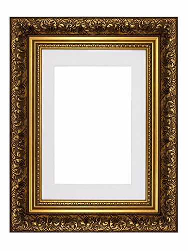 "French Style baroque avec fixation orné Swept antique Stylephoto Cadre cadre photo cadre Poster – M-fr-baroque-parent, Gold Frame with White Mount, 14""x11"" for A4 pictures"