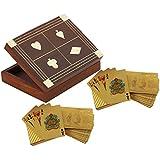 Caso titular de la tarjeta de juego de madera - 2 cubiertas de oro del dólar sembraron jugando a las cartas - estuche de viaje naipe -15.7 x 12,7 x 3,8 cm