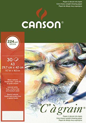 Canson 400060602 C a grain Zeichenpapier, A3, naturweiß