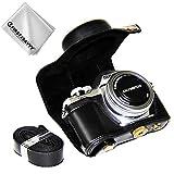 First2savvv Schwarz Premium Qualität Ganzkörper- Präzise Passform PU-Leder Kameratasche Fall Tasche Cover für Olympus OM-D E-M10 Mark III (14-42 EZ Zoom Lens) - XJD-EM10 III-01G11