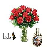 Ramo de 12 rosas naturales + colgante de resina