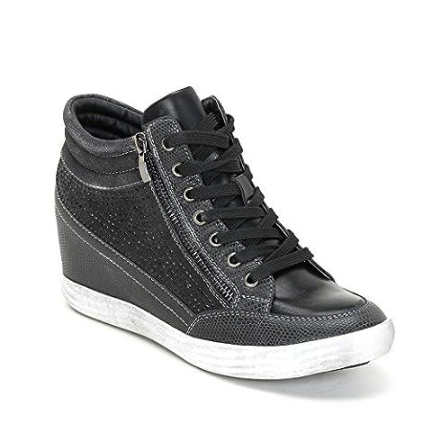 PRENDIMI by Scarpe&Scarpe - Sneaker mit Keilabsatz und Mikro-Strasssteinen - 38,0, Schwarz (Keilabsatz Schwarz)