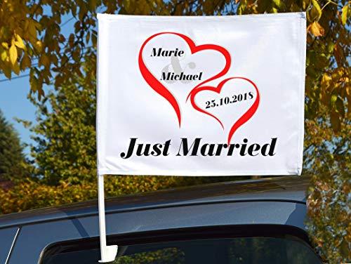 """Autoflagge/Autofahne – bedruckt """"Just Married 2"""" mit Ihren Namen und dem Datum"""