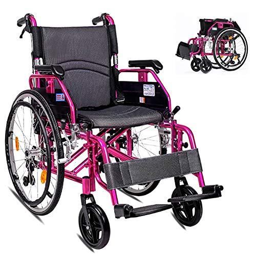 XBCOOK Rollstuhl, Faltrollstuhl, Leichtgewichtrollstuhl mit abnehmbaren Armlehnen und Fußstützen, für Personen mit körperlichen Beeinträchtigungen und ältere Menschen - Lila
