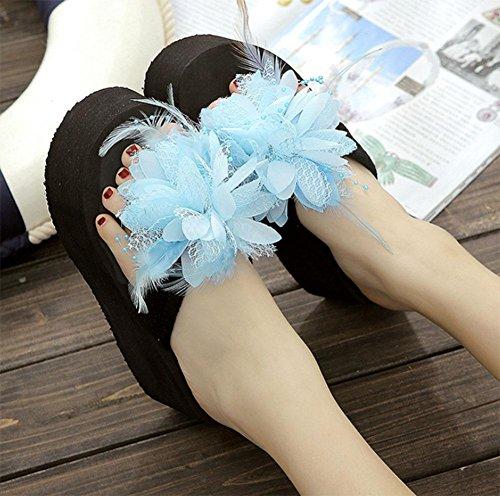 Pantofole donne sandali fiori capovolgere antiscivolo sandali scarpe da spiaggia fondo pesante femmina selvatica US7.5 / EU38 / UK5.5 / CN38