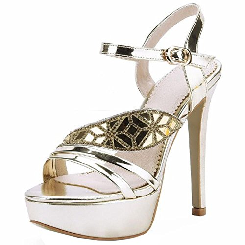 COOLCEPT Femmes Mode Metalliques Color Sangle de cheville Plate-forme Sandales Talons hauts With Strass Or