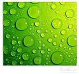 Wallario Herdabdeckplatte / Spritzschutz aus Glas, 2-teilig, 60x52cm, für Ceran- und Induktionsherde, Wassertropfen auf Grün -
