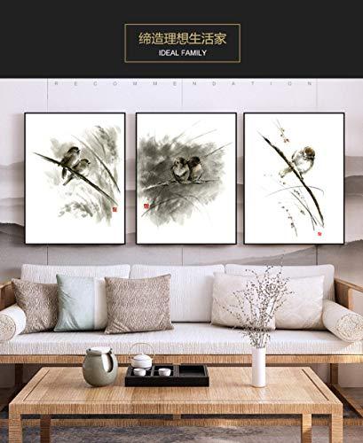 Stampa su tela trittico,3pz inchiostro nero animale uccello ramo di albero stampa parete moderna arte poster tela per soggiorno camera da letto bar ristorante shop home decor pittura,60x80cmx3pc tel