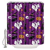 SuyuttiER Halloween Shower Curtain, Ghost Pumpkin Funny Hallowen Theme Design, Fabric Bathroom Decor With Hooks, Es 72x72 Inch